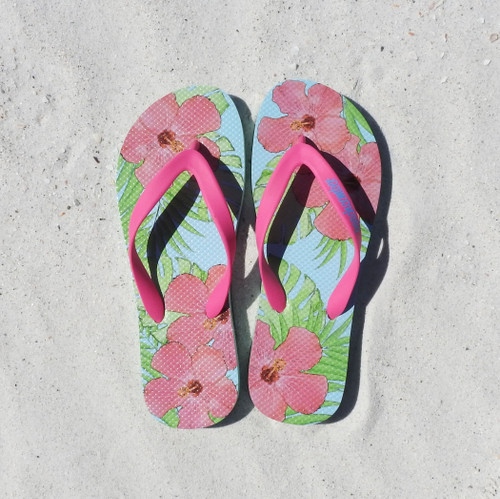Beachcomber Blue Water Hibiscus Natural Rubber Flip Flops