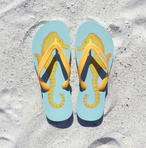 Beachcomber Blue Water Seahorses Natural Rubber Flip Flops