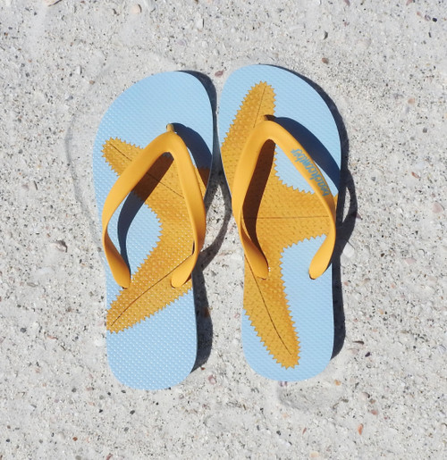 Beachcomber Blue Water Starfish Natural Rubber Flip Flops