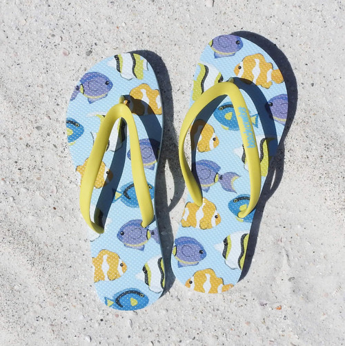 Beachcomber Blue Water Tropical Fish Natural Rubber Flip Flops