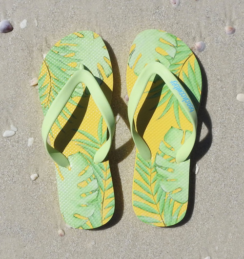 Beachcomber Blue Water Palm Leaves Natural Rubber Flip Flops