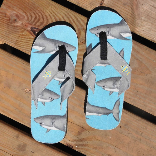 Beachcomber Blue Water Sharks Unisex Canvas Flip Flops beachcomber blue water flamingo flip flops