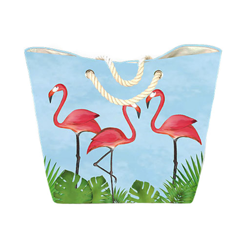 Beachcomber blue water flamingo tote bag