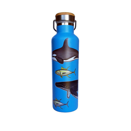 Beachcomber Blue Water Sea life Stainless Steel Water Bottle beachcomber blue water flamingo flip flops