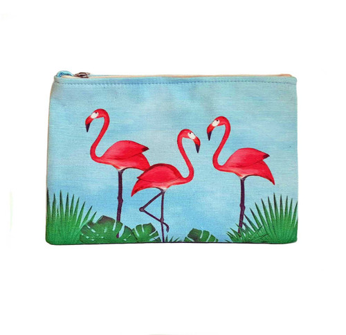 Beachcomber Blue Water Flamingos Pouch beachcomber blue water flamingo flip flops
