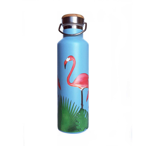 Beachcomber Blue Water Flamingos Stainless Steel Water Bottle beachcomber blue water flamingo flip flops
