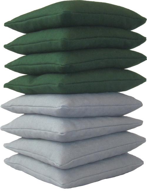 Hunter Green and Gray Cornhole Bags