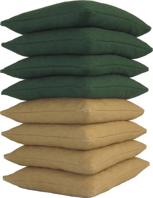 Hunter Green and Gold Cornhole Bags