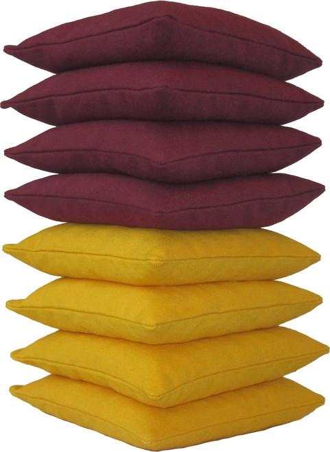 Maroon and Yellow Cornhole Bags