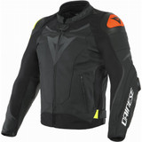 Dainese VR46 Victory Leather Jacket (Black/Fluo Yellow)