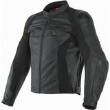 Dainese VR46 Pole Position Leather Jacket (Black/Fluo Yellow)