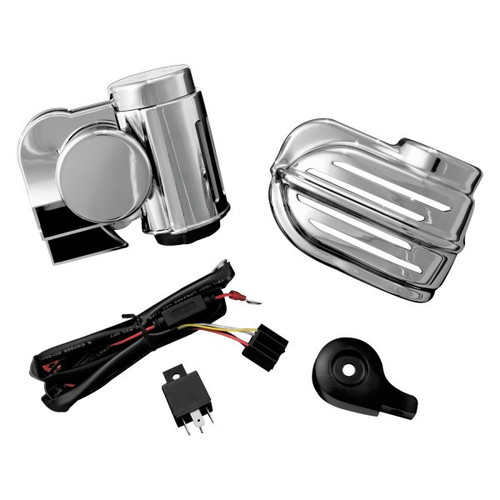 Kuryakyn Super Deluxe Wolo Bad Boy Air Horn Kit w/ Cover for Harley Davidson