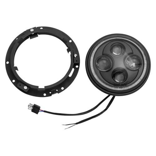 "Kuryakyn Motorcycle Orbit Vision 7"" LED Headlight with White Halo"
