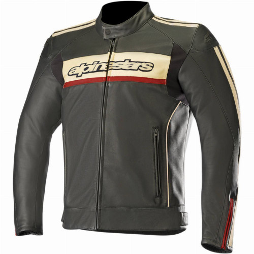 Alpinestars Dyno V2 Leather Jacket (Black/Stone/Red)
