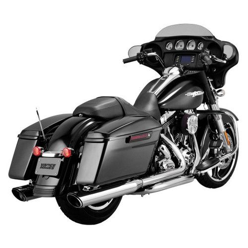 "Vance & Hines 4"" Round Twin Slash Slip-On Exhaust for Harley Davidson (Chrome)"