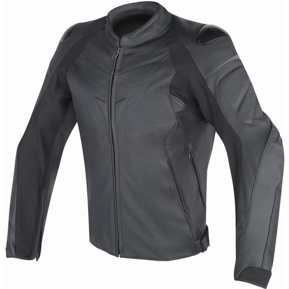 Dainese Fighter Leather Jacket (Black/Black)