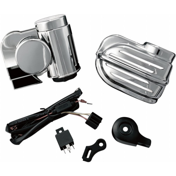 Kuryakyn Super Deluxe Wolo Bad Boy Motorcycle Air Horn Kit