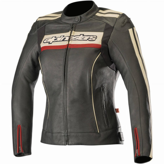 Alpinestars Womens Stella Dyno V2 Leather Jacket (Black/Stone/Red)