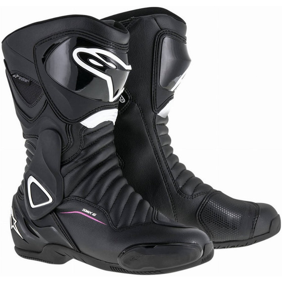 Alpinestars Womens Stella SMX-6 V2 Drystar Boots (Black/White/Pink)
