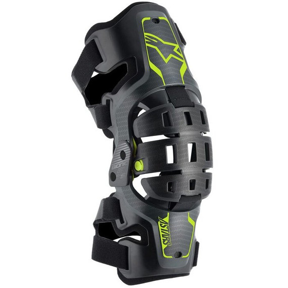 Alpinestars Youth Bionic 5S Knee Braces (Black/Anthracite/Fluo Yellow)