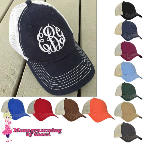 A Monogrammed Baseball Hat from MONOGRAMMING BY SHERRI is the perfect topper for any outfit. Our sporty hat has a softer and more feminine look than your boyfriend's hat, and an adjustable back lets you find just the right fit.  A personalized baseball cap makes a cute keepsake for your bridesmaids when you add their names or initials in colors to match your wedding. Monogrammed hats are also great for unifying teammates or showing your sorority sisters your lasting loyalty. Pair a personalized baseball cap with a monogrammed T-shirt or monogrammed tote bag in coordinating colors for a pulled-together look that makes a statement!