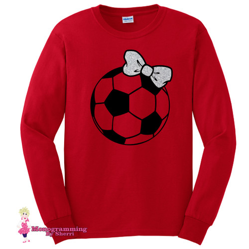 Personalized Long Sleeve Soccer Ball with Glitter Bow