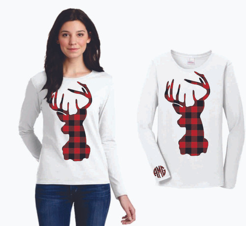 Show off your Christmas Spirit with one of our Plaid Deer Head!  And of course we have to personalize it!  We put your initials, in plaid, on the cuff!  Plaid is a hit and so you will be too!  Exclusively at Monogramming By Sherri.  Please keep in mind that the black and red plaid can not be changed so keep this is mind when picking your shirt color.
