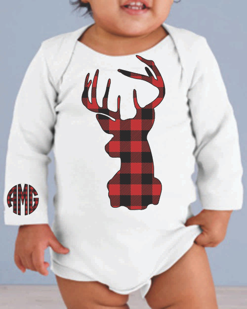 Plaid is a huge hit and we have the exclusive design with your babys monogram!  Please note that the plaid is red and black so keep this in mind when ordering your onsie color.