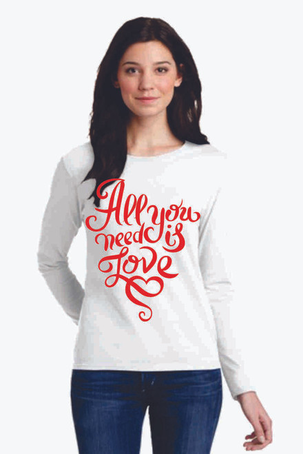 "You will love our Long Sleeve Cotton Tees with ""All you need is LOVE"" screenprint!  Our soft cotton long sleeve tees are unisex and are not fitted.  Show off your Valentines Love!"