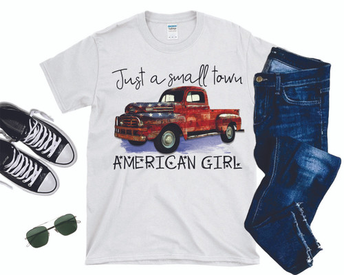 Total American Girl!  This is a digitally imprinted and is printed on a white, silver, or heather gray shirt unisex long sleeve shirt. These shirts are not fitted and run true to size.  It is also available in short sleeve, just give us a buzz at the store at 615-318-1036!