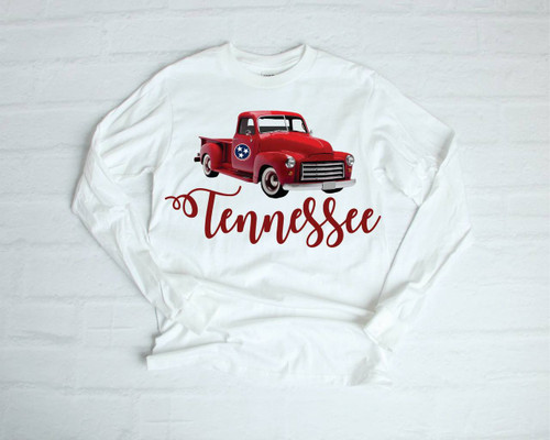 Tennessee Girl!  This is a digitally imprinted and is printed on a white, silver, or heather gray shirt unisex long sleeve shirt. These shirts are not fitted and run true to size.  It is also available in short sleeve too.