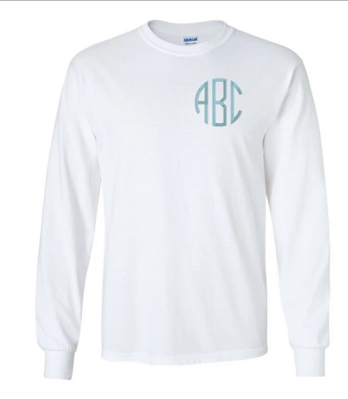 Everyone loves a monogrammed T-Shirt! Casual, Comfy, and Athletic-all in one shirt! Perfect for layering, and chilly days. This classic Embroidered Monogrammed Long Sleeve belongs in every girls wardrobe! These are unisex sized shirts