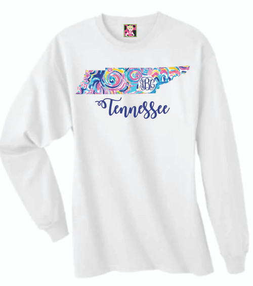 There's no better match than these two iconic symbols- Lilly Pulitzer Patterns  in YOUR state and YOUR Monogram! Dress this long sleeve tee up for a classy brunch, or dress it down for more casual afternoons. Either way- you'll look so cute in this preppy & personalized monogrammed Shirt!