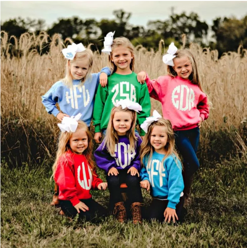 Your sweet lil Southern Girl will look adorable with her large initials on a warm and comfy sweatshirt!