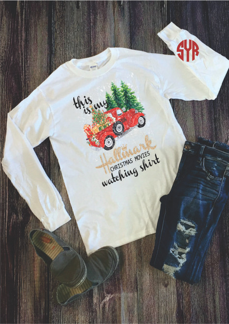 Add a monogram to this festive design to get in the Holiday Spirit! This Graphic Monogram Long Sleeve tee is printed on a unisex tee shirt . Wear this Monogrammed Long Sleeve tee shirt to a holiday party or just while relaxing and watching your favorite Christmas Movie