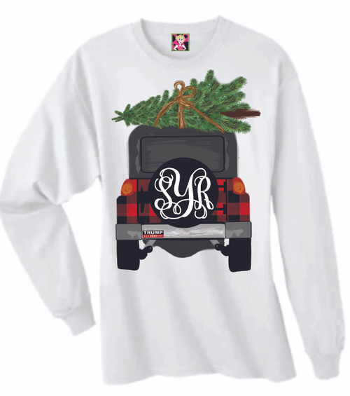 HOW FUN IS THIS?  I LOVE SHOWING OFF YOUR INITIALS AND OUR CUTE CHRISTMAS TREE AND JEEP!  YOU CAN ORDER WITH OR WITHOUT A BUMPER STICKER OR CHOOSE YOUR CHOICE! our shirts are unisex and fit true to size.  These are soft and comfortable and you will love wearing it!