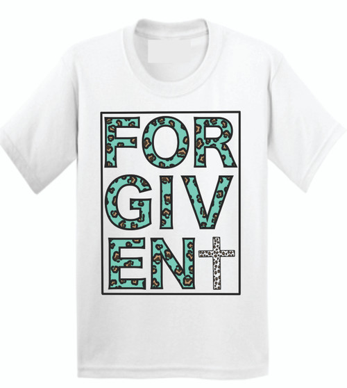 FORGIVEN IN LEOPARD STYLE! Be proud to show off your faith with a stylish flair!  Soft as butter tees that you will want to wear everyday! This is a digitally imprinted and is printed on a white, silver, or heather gray shirt unisex tee sleeve shirt. These shirts are not fitted and run true to size.