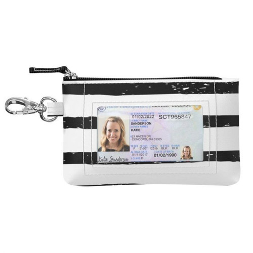 Grab and go! If your pocket is your purse, you'll love this slim, secure card holder. Use the clasp for your keys or to clip onto/inside other bags.