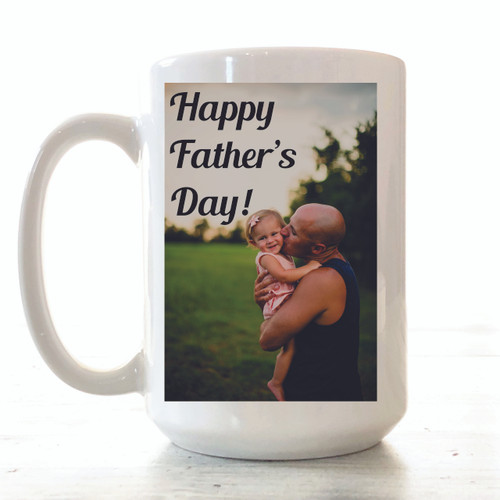 "MUG DETAILS ♥ 15 ounces ceramic white mug With your photo! ♥ Mug says ""HAPPY FATHERS DAY"" ♥ Text printed in BLACK ♥ Design professionally and permanently printed on the mug ♥ Hand-wash recommended to preserve the longevity of the printing ♥ Dishwasher safe (top rack only) & microwave safe ♥ Professionally sublimated in our Smithville, Tennessee workshop for the highest quality finish. ♥ Free Shipping on all orders. Ships within 3-7 business days. I try to be as quick as possible.  …………………………………….  We are committed to selling only the highest quality ceramic mugs in the industry, great for everyday use. The design is actually part of the mug. We don't use decals or vinyls for our mugs. We do a lot of customization, so if you have any specific ideas for a mug, just message us and we can make it happen together."