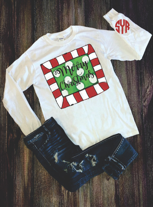 HOW FUN IS THIS?  I LOVE SHOWING OFF YOUR INITIALS AND OUR CUTE CHRISTMAS design!   our shirts are unisex and fit true to size.  These are soft and comfortable and you will love wearing it!