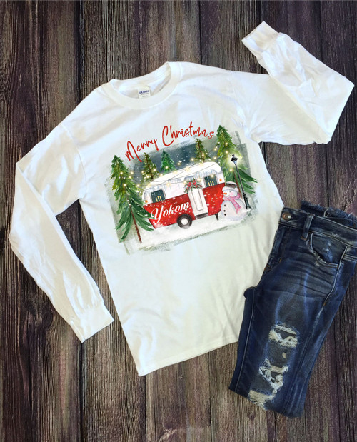 For all our Camper Lovers, we have you covered!!  You will love this soft as butter long sleeve tee that is perfect to show your Christmas spirit!  These are unisex shirts and are not fitted!  Order early so you can wear all season long!  This is a digitally imprinted shirt and is a part of the fiber of the shirt!