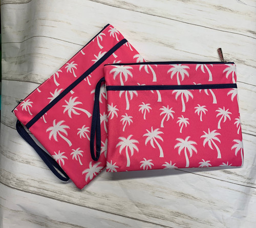 PINK PALM TREE WET SWIMSUIT BAG