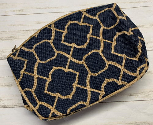 NAVY AND BURLAP TOILETRY POUCH