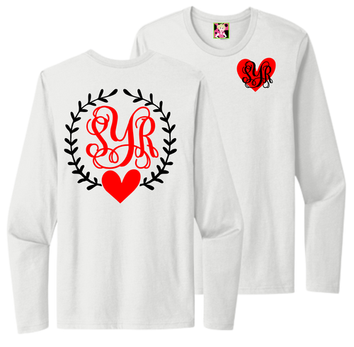 Show off your initials with this great Valentine's print shirt! You will be in Style along with showing off your monogram!  Sizes are unisex and are not fitted.  True to size.