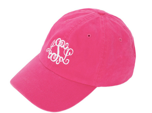 A Monogrammed Baseball Hat from MONOGRAMING BY SHERRI  is the perfect topper for any outfit. Our sporty hat has a softer and more feminine look than your boyfriend's hat, and an adjustable back lets you find just the right fit.  A personalized baseball cap makes a cute keepsake for your bridesmaids when you add their names or initials in colors to match your wedding. Monogrammed hats are also great for unifying teammates or showing your sorority sisters your lasting loyalty. Pair a personalized baseball cap with a monogrammed T-shirt or monogrammed tote bag in coordinating colors for a pulled-together look that makes a statement!