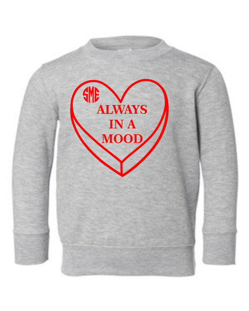 "How many toddler's do you know that have ""Mood Swings"".  How about a soft and comfy sweatshirt to show off their current one for Valentines day!  Comes in great sizes and will be perfect to wear out with parents, daycare, Mother's Day out and school!  All sizes are true to size and American Made!"