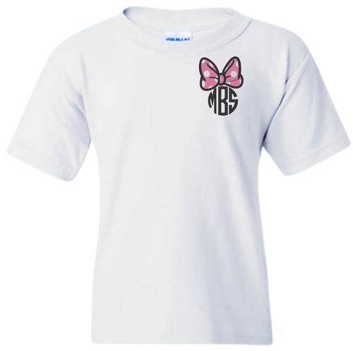 IT'S ALL ABOUT THE MOUSE!  OUR MONOGRAMMED BOW AND INITIALS ARE EMBROIDERED WITH THREAD AND NOT HEAT PRESS!  YOU WILL LOVE THE DURABLE AND ALWAYS YOUR SIZE TEE'S ARE COMFORTABLE AND SHOW OFF YOUR MONOGRAM!  WANT TO CHANGE SOMETHING UP? GIVE US A CALL AND WE LOVE SPECIAL ORDERS! 615-305-6432