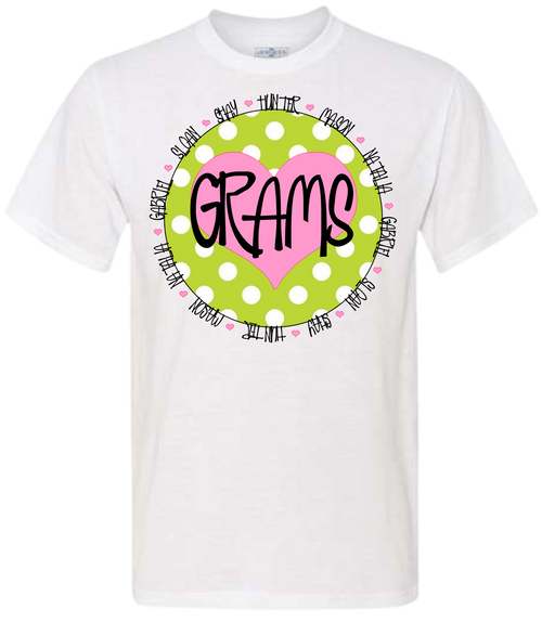What better way to show off your brood with one of our fun name shirts!  We can ad what you are called, and the names of all your children, grandchildren, greats or even your pet names!  Lots of choices!  Perfect gift for that special person! Our white shirts come with pink!