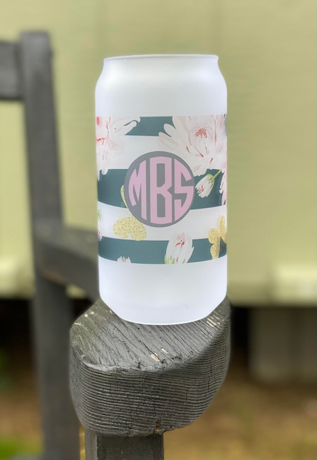 So some of us ladies like beer, but hate drinking out of a can.... thus the Frosted Beer Can look in glass!  Holds up to 18oz and is personalized in the true southern way.  We can do sooo many things with this glass!  Keep posted for updated patterns!  We have over 4,0000 to choose from!  Give us a call and come by to design yours!  This is digitally imprinted and is not vinyl and will not wash off!