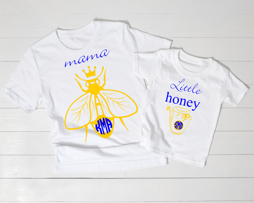 The Perfect Graphic Monogram for 'Mama Bees'  OUR SHIRTS ARE DIGITALLY IMPRINTED AND ARE NOT HEAT PRESS VINYL.  UNISEX SHIRTS THAT ARE TRUE TO SIZE!